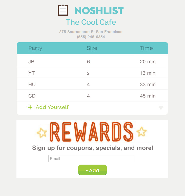 NoshList public page copy